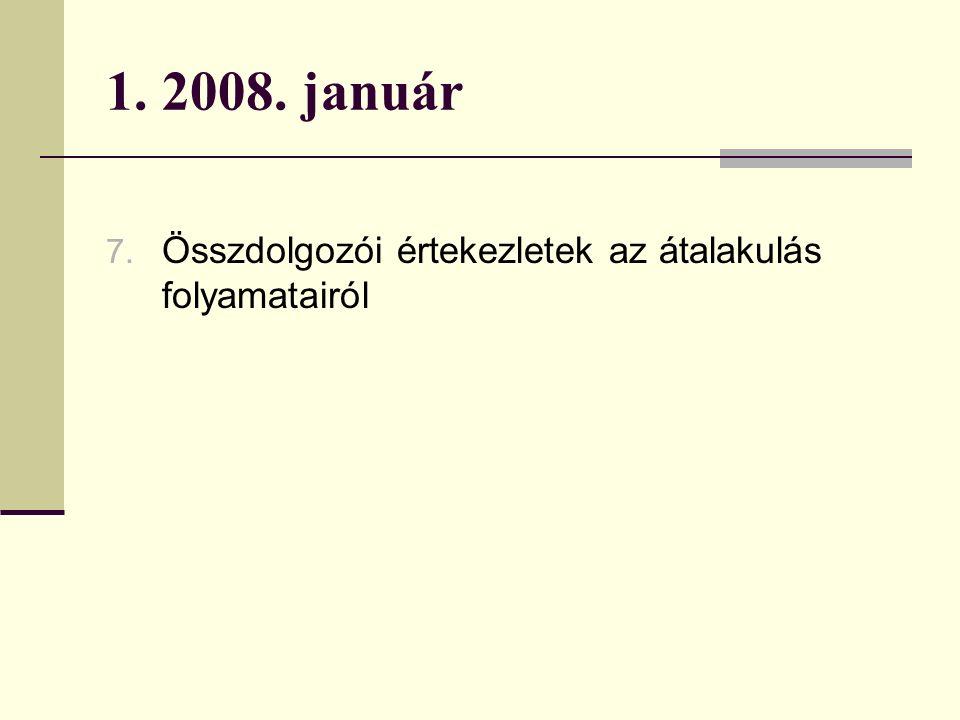 1. 2008. január 7. Összdolgozói értekezletek az átalakulás folyamatairól