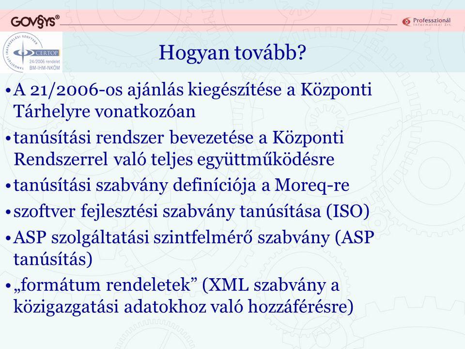 Hogyan tovább? A 21/2006-os ajánlás kiegészítése a Központi Tárhelyre vonatkozóan tanúsítási rendszer bevezetése a Központi Rendszerrel való teljes eg