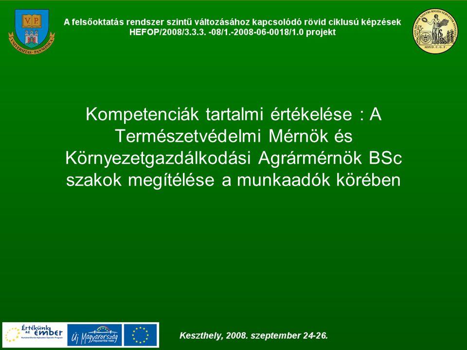 Kompetenciák tartalmi értékelése : A Természetvédelmi Mérnök és Környezetgazdálkodási Agrármérnök BSc szakok megítélése a munkaadók körében