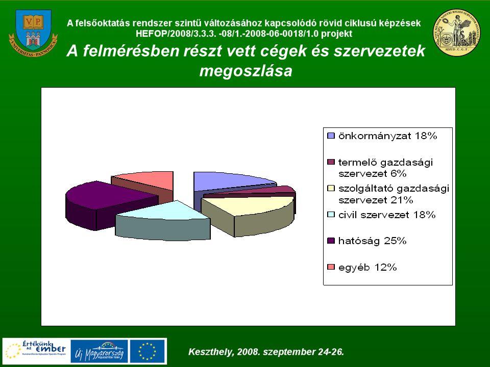 A felmérésben részt vett cégek és szervezetek megoszlása