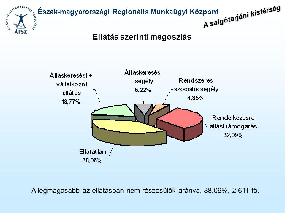 Észak-magyarországi Regionális Munkaügyi Központ Ellátás szerinti megoszlás A legmagasabb az ellátásban nem részesülők aránya, 38,06%, 2.611 fő. A sal