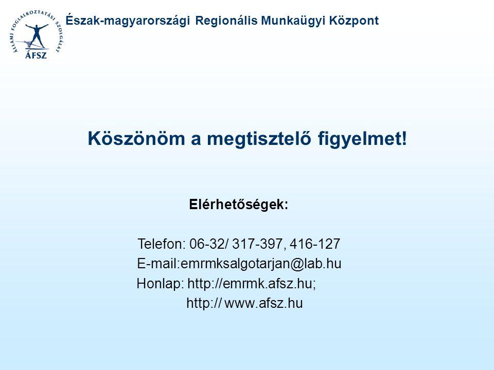 Észak-magyarországi Regionális Munkaügyi Központ Köszönöm a megtisztelő figyelmet! Elérhetőségek: Telefon: 06-32/ 317-397, 416-127 E-mail:emrmksalgota