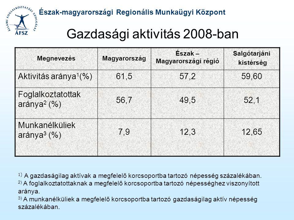 Észak-magyarországi Regionális Munkaügyi Központ Gazdasági aktivitás 2008-ban MegnevezésMagyarország Észak – Magyarországi régió Salgótarjáni kistérsé