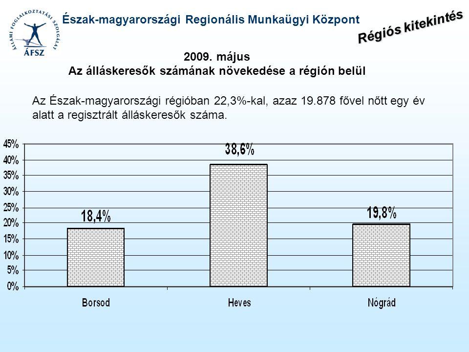 Észak-magyarországi Regionális Munkaügyi Központ Az Észak-magyarországi régióban 22,3%-kal, azaz 19.878 fővel nőtt egy év alatt a regisztrált állásker