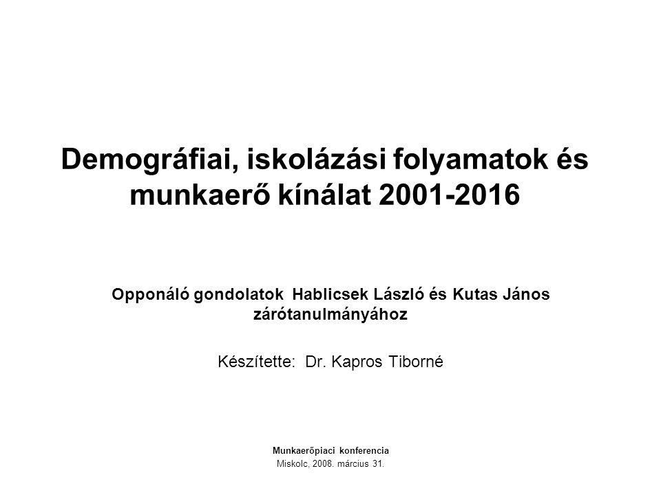 Demográfiai, iskolázási folyamatok és munkaerő kínálat 2001-2016 Opponáló gondolatok Hablicsek László és Kutas János zárótanulmányához Készítette: Dr.