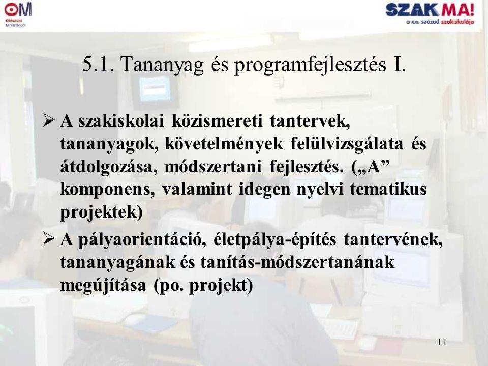 11 5.1. Tananyag és programfejlesztés I.  A szakiskolai közismereti tantervek, tananyagok, követelmények felülvizsgálata és átdolgozása, módszertani