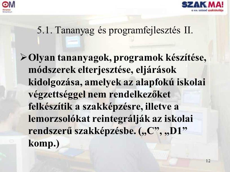 12 5.1. Tananyag és programfejlesztés II.  Olyan tananyagok, programok készítése, módszerek elterjesztése, eljárások kidolgozása, amelyek az alapfokú