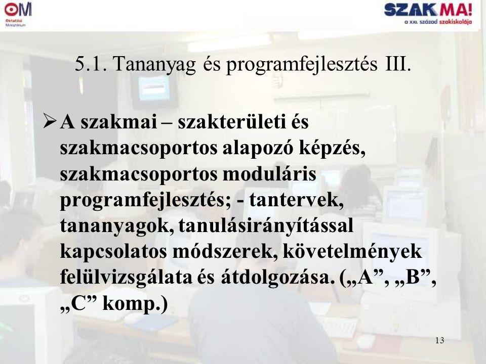 13 5.1. Tananyag és programfejlesztés III.  A szakmai – szakterületi és szakmacsoportos alapozó képzés, szakmacsoportos moduláris programfejlesztés;