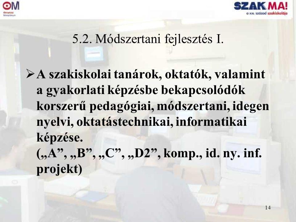 14 5.2. Módszertani fejlesztés I.  A szakiskolai tanárok, oktatók, valamint a gyakorlati képzésbe bekapcsolódók korszerű pedagógiai, módszertani, ide