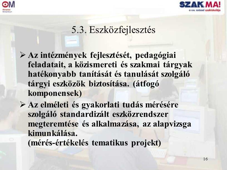 16 5.3. Eszközfejlesztés  Az intézmények fejlesztését, pedagógiai feladatait, a közismereti és szakmai tárgyak hatékonyabb tanítását és tanulását szo