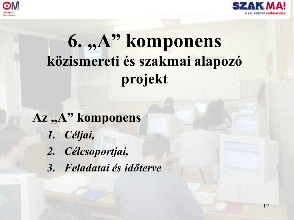 """17 6. """"A"""" komponens közismereti és szakmai alapozó projekt Az """"A"""" komponens 1.Céljai, 2.Célcsoportjai, 3.Feladatai és időterve"""