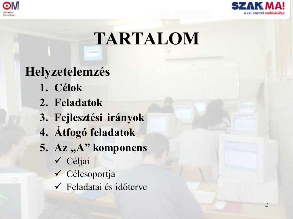 """2 TARTALOM Helyzetelemzés 1.Célok 2.Feladatok 3.Fejlesztési irányok 4.Átfogó feladatok 5.Az """"A"""" komponens Céljai Célcsoportja Feladatai és időterve"""