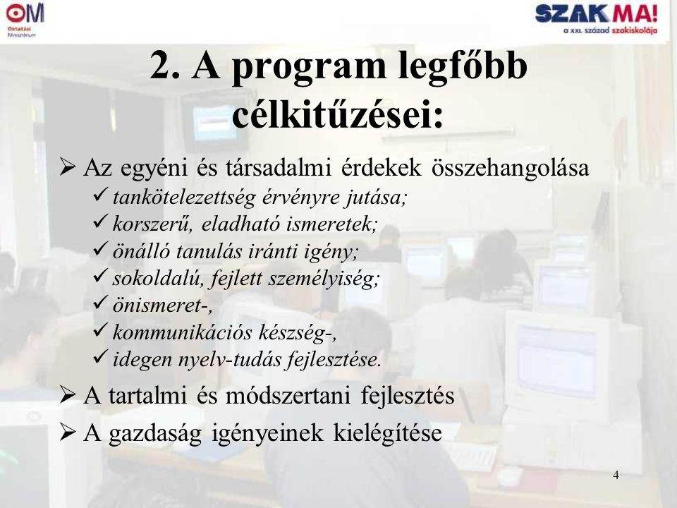 4 2. A program legfőbb célkitűzései:  Az egyéni és társadalmi érdekek összehangolása tankötelezettség érvényre jutása; korszerű, eladható ismeretek;