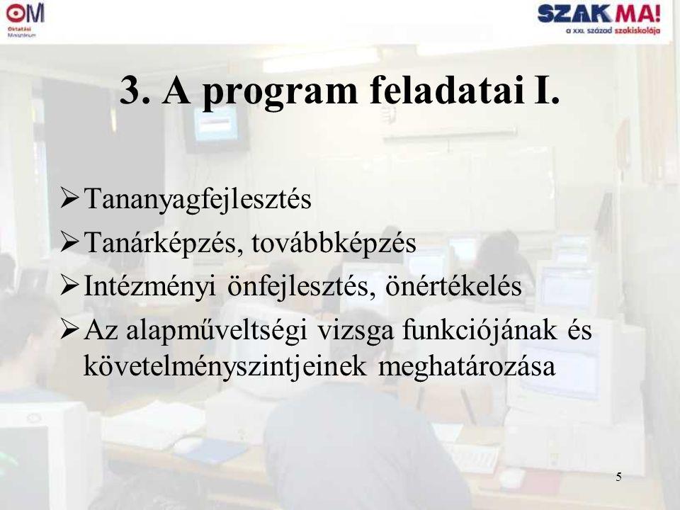 5 3. A program feladatai I.  Tananyagfejlesztés  Tanárképzés, továbbképzés  Intézményi önfejlesztés, önértékelés  Az alapműveltségi vizsga funkció