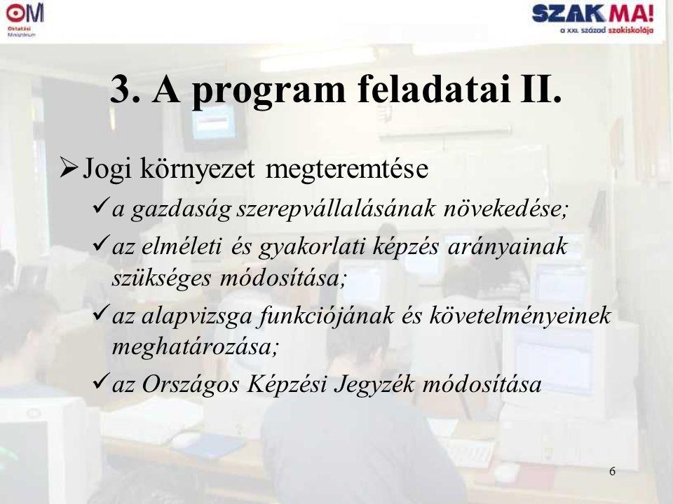 6 3. A program feladatai II.  Jogi környezet megteremtése a gazdaság szerepvállalásának növekedése; az elméleti és gyakorlati képzés arányainak szüks