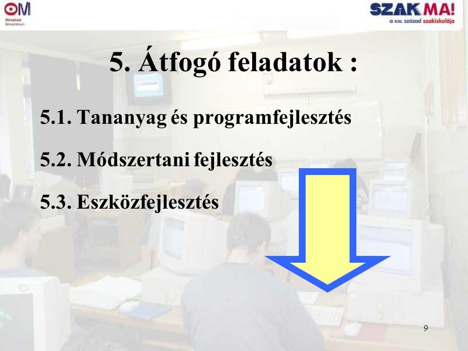 9 5. Átfogó feladatok : 5.1. Tananyag és programfejlesztés 5.2. Módszertani fejlesztés 5.3. Eszközfejlesztés