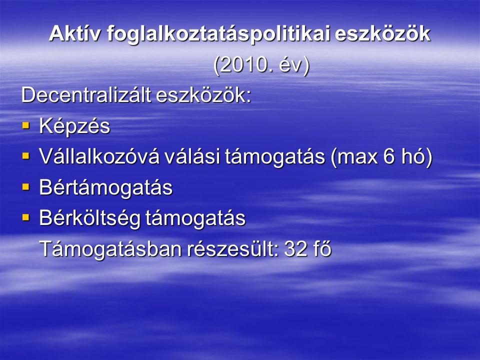 Aktív foglalkoztatáspolitikai eszközök (2010. év) Decentralizált eszközök:  Képzés  Vállalkozóvá válási támogatás (max 6 hó)  Bértámogatás  Bérköl