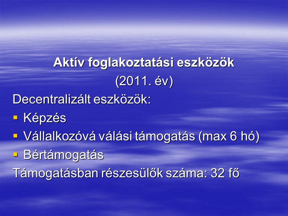 Aktív foglakoztatási eszközök (2011. év) Decentralizált eszközök:  Képzés  Vállalkozóvá válási támogatás (max 6 hó)  Bértámogatás Támogatásban rész