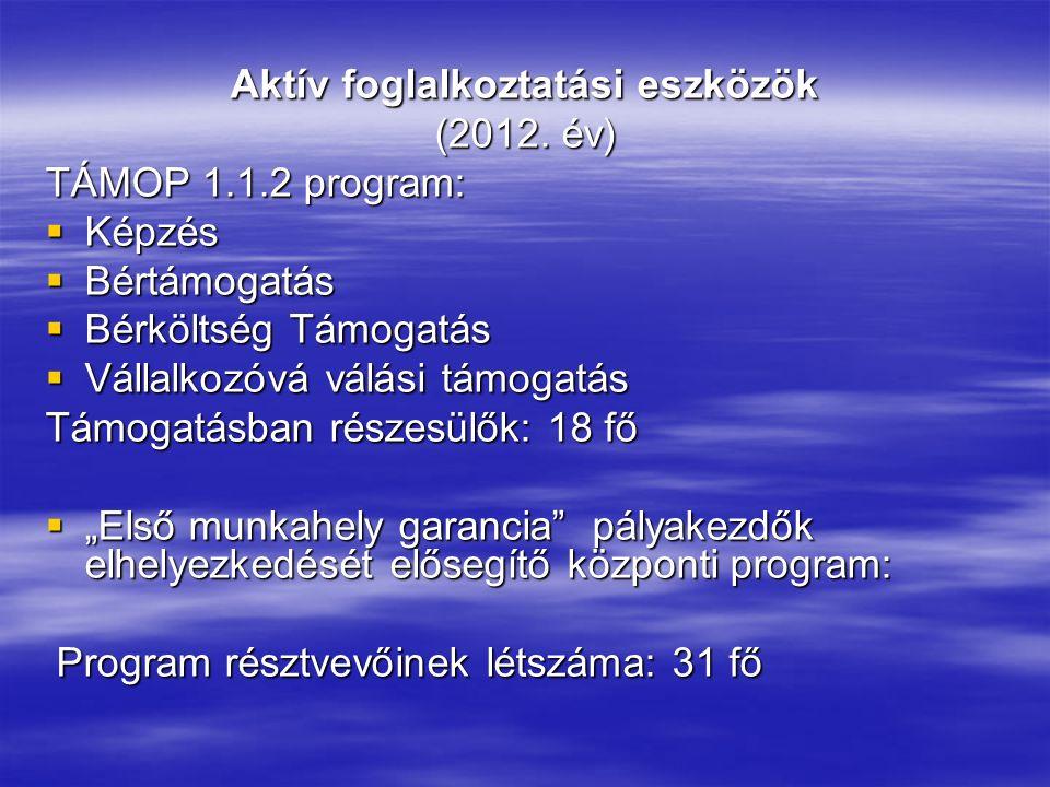 Aktív foglalkoztatási eszközök (2012. év) TÁMOP 1.1.2 program:  Képzés  Bértámogatás  Bérköltség Támogatás  Vállalkozóvá válási támogatás Támogatá