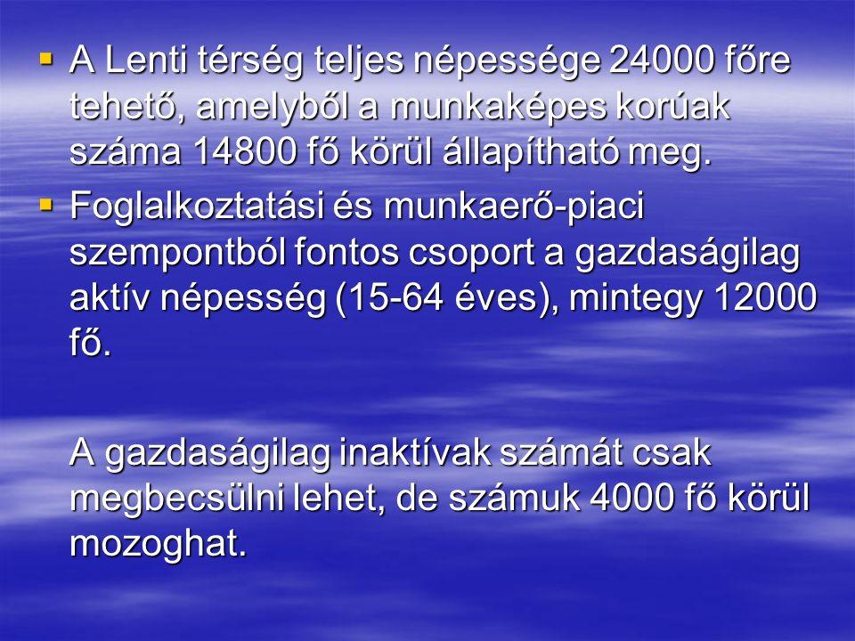  A Lenti térség teljes népessége 24000 főre tehető, amelyből a munkaképes korúak száma 14800 fő körül állapítható meg.  Foglalkoztatási és munkaerő-