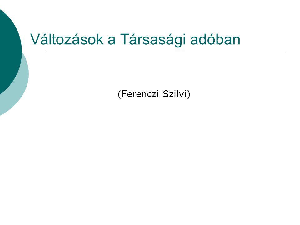 Változások a Társasági adóban (Ferenczi Szilvi)