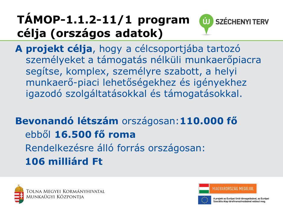 TÁMOP-1.1.2-11/1 program célja (országos adatok) A projekt célja, hogy a célcsoportjába tartozó személyeket a támogatás nélküli munkaerőpiacra segítse, komplex, személyre szabott, a helyi munkaerő-piaci lehetőségekhez és igényekhez igazodó szolgáltatásokkal és támogatásokkal.