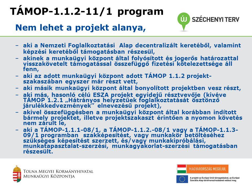 """TÁMOP-1.1.2-11/1 program –aki a Nemzeti Foglalkoztatási Alap decentralizált keretéből, valamint képzési keretéből támogatásban részesül, –akinek a munkaügyi központ által folyósított és jogerős határozattal visszakövetelt támogatással összefüggő fizetési kötelezettsége áll fenn, –aki az adott munkaügyi központ adott TÁMOP 1.1.2 projekt- szakaszában egyszer már részt vett, –aki másik munkaügyi központ által bonyolított projektben vesz részt, –aki más, hasonló célú ESZA projekt egyidejű résztvevője (kivéve TÁMOP 1.2.1 """"Hátrányos helyzetűek foglalkoztatását ösztönző járulékkedvezmények elnevezésű projekt), –akivel összefüggésben a munkaügyi központ által korábban indított bármely projektet, illetve projektszakaszt érintően a nyomon követés nem zárult le, –aki a TÁMOP-1.1.1-08/1, a TÁMOP-1.1.2.-08/1 vagy a TÁMOP-1.1.3- 09/1 programban szakképesítést, vagy munkakör betöltéséhez szükséges képesítést szerzett, és/vagy munkakipróbálási, munkatapasztalat-szerzési, munkagyakorlat-szerzési támogatásban részesült."""