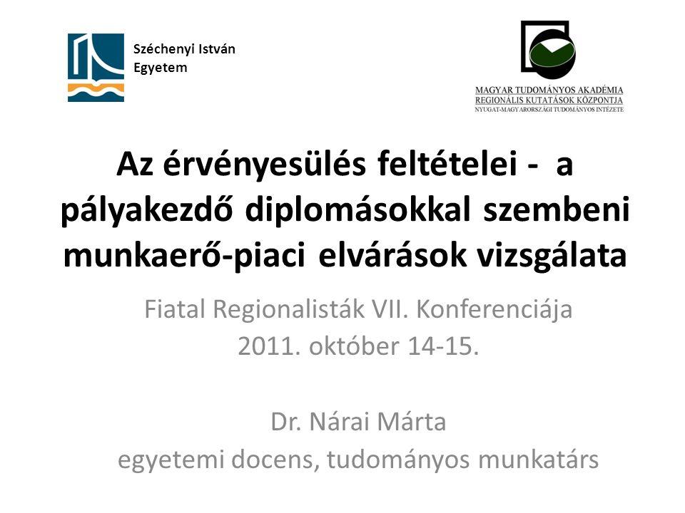 Az érvényesülés feltételei - a pályakezdő diplomásokkal szembeni munkaerő-piaci elvárások vizsgálata Fiatal Regionalisták VII.