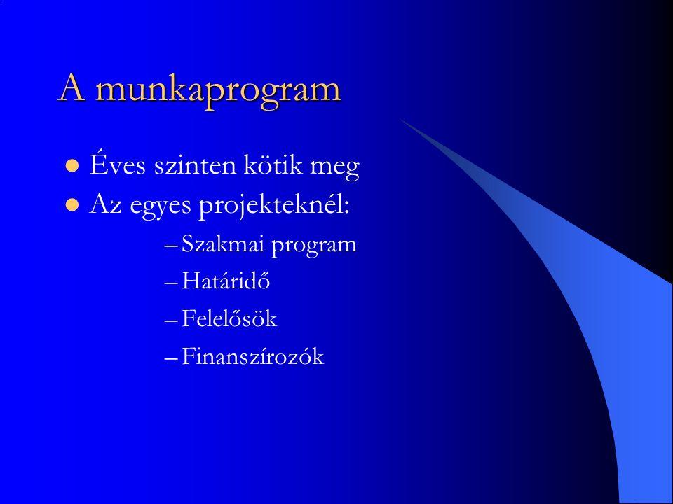 A munkaprogram Éves szinten kötik meg Az egyes projekteknél: –Szakmai program –Határidő –Felelősök –Finanszírozók