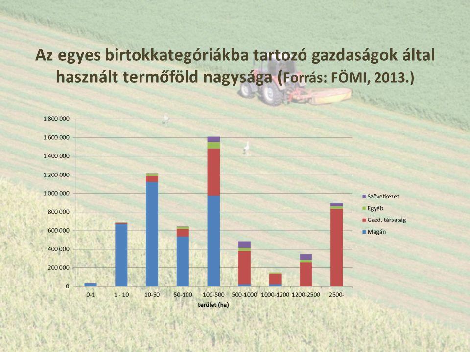 Az egyes birtokkategóriákba tartozó gazdaságok által használt termőföld nagysága ( Forrás: FÖMI, 2013.)