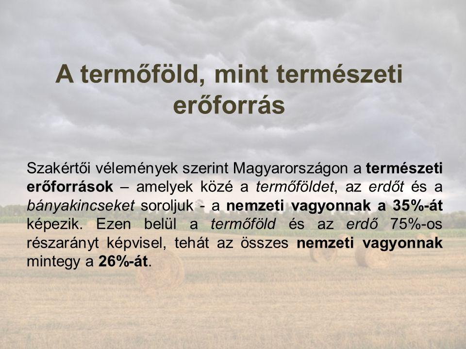A termőföld, mint természeti erőforrás Szakértői vélemények szerint Magyarországon a természeti erőforrások – amelyek közé a termőföldet, az erdőt és a bányakincseket soroljuk - a nemzeti vagyonnak a 35%-át képezik.