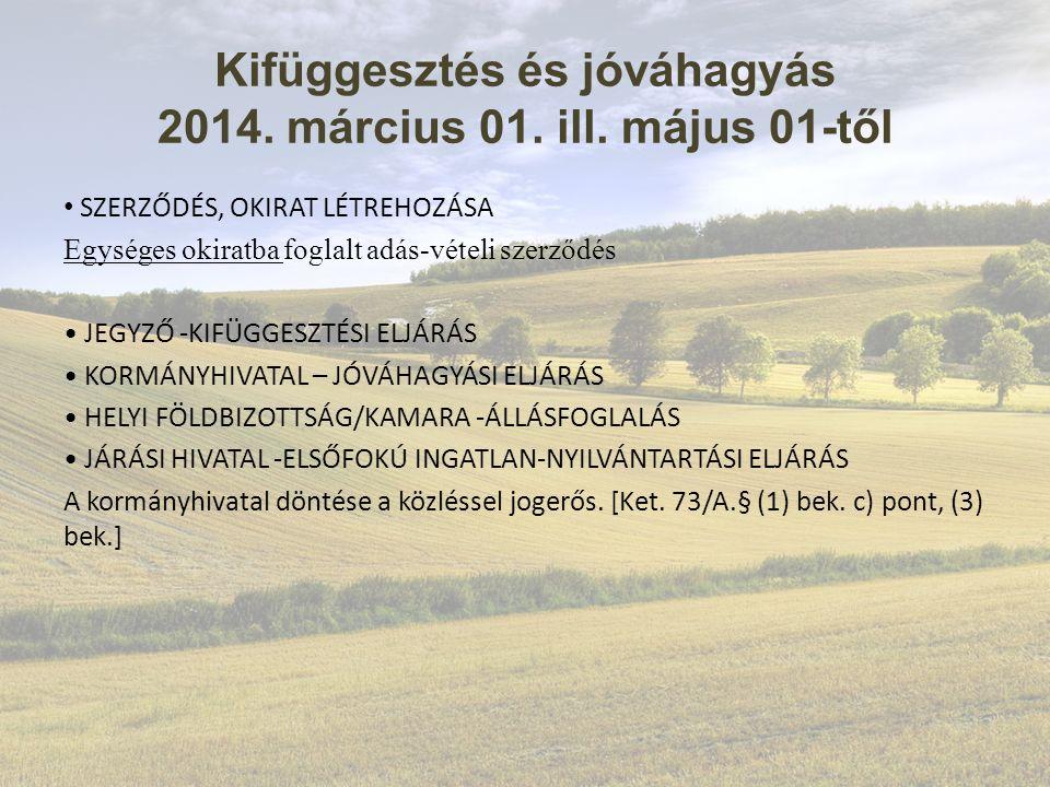 Kifüggesztés és jóváhagyás 2014. március 01. ill.