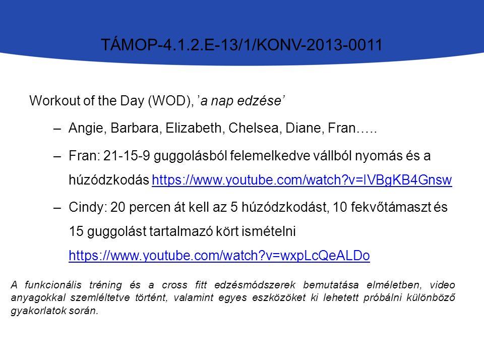 Workout of the Day (WOD), 'a nap edzése' –Angie, Barbara, Elizabeth, Chelsea, Diane, Fran…..
