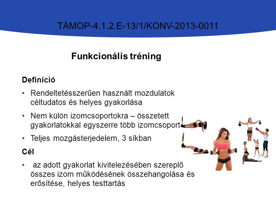 TÁMOP-4.1.2.E-13/1/KONV-2013-0011 Funkcionális tréning Definíció Rendeltetésszerűen használt mozdulatok céltudatos és helyes gyakorlása Nem külön izomcsoportokra – összetett gyakorlatokkal egyszerre több izomcsoport Teljes mozgásterjedelem, 3 síkban Cél az adott gyakorlat kivitelezésében szereplő összes izom működésének összehangolása és erősítése, helyes testtartás