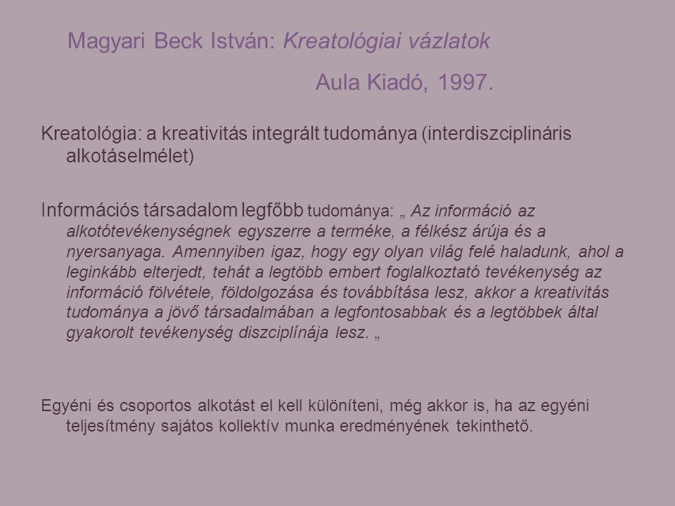 Magyari Beck István: Kreatológiai vázlatok Aula Kiadó, 1997. Kreatológia: a kreativitás integrált tudománya (interdiszciplináris alkotáselmélet) Infor