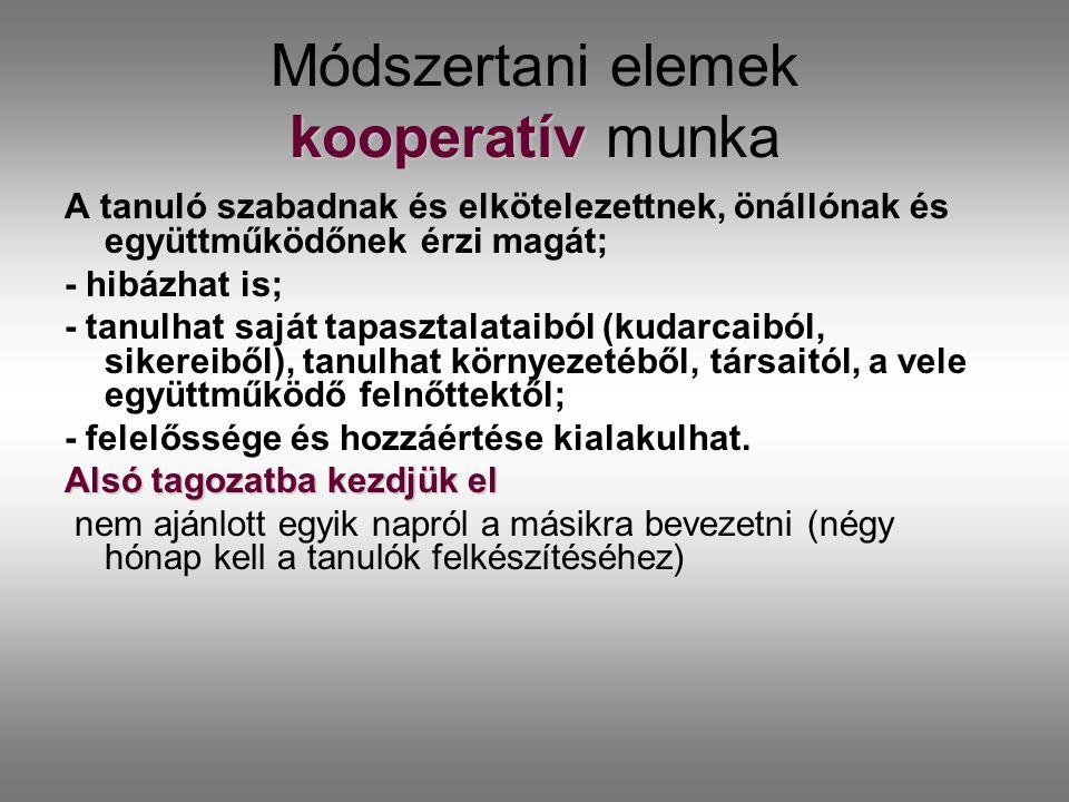 kooperatív Módszertani elemek kooperatív munka A tanuló szabadnak és elkötelezettnek, önállónak és együttműködőnek érzi magát; - hibázhat is; - tanulh