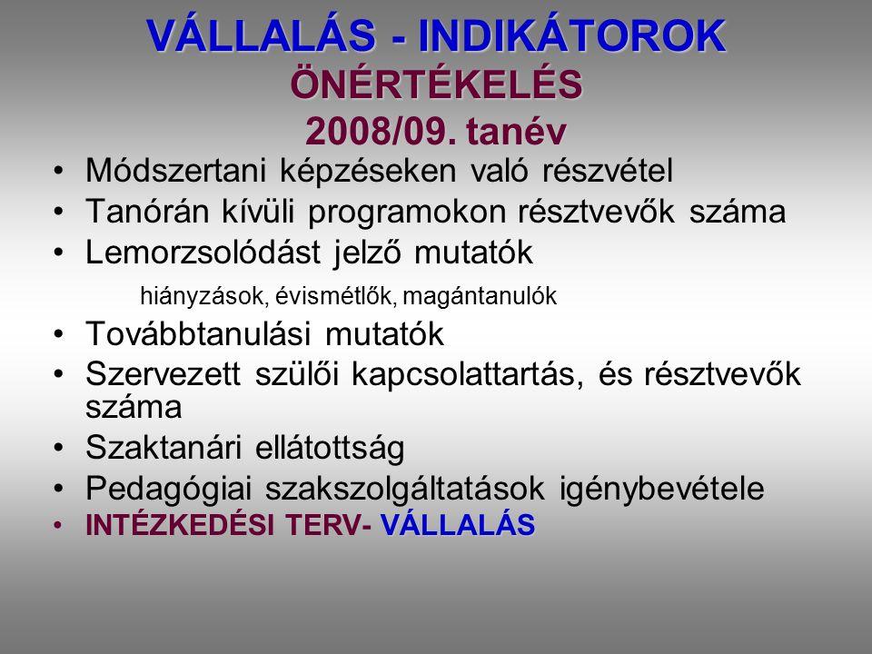 VÁLLALÁS - INDIKÁTOROK ÖNÉRTÉKELÉS 2008/09. tanév Módszertani képzéseken való részvétel Tanórán kívüli programokon résztvevők száma Lemorzsolódást jel