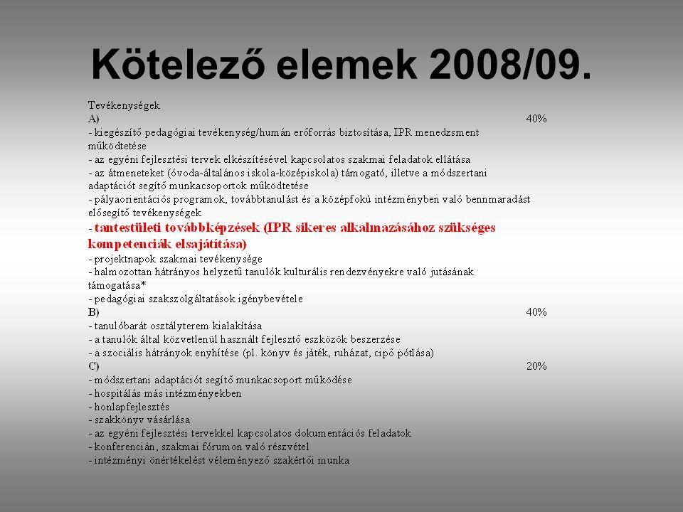 Kötelező elemek 2008/09.