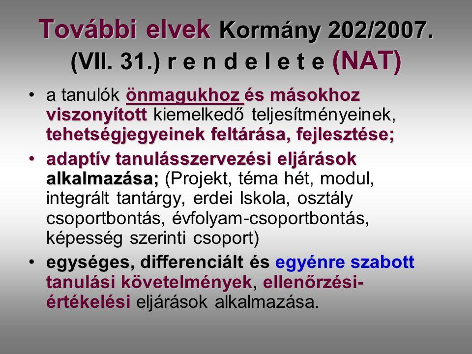 További elvek Kormány 202/2007. (VII. 31.) r e n d e l e t e (NAT) önmagukhoz és másokhoz viszonyított tehetségjegyeinek feltárása, fejlesztése;a tanu