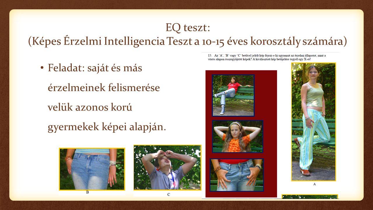 EQ teszt: (Képes Érzelmi Intelligencia Teszt a 10-15 éves korosztály számára) Feladat: saját és más érzelmeinek felismerése velük azonos korú gyermekek képei alapján.