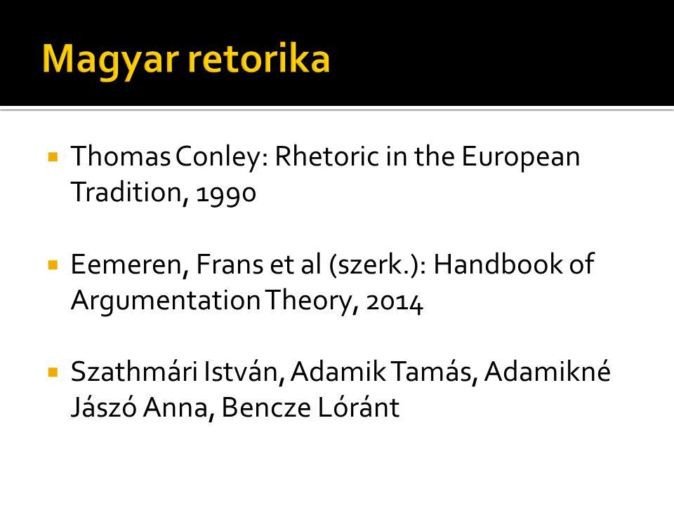  Thomas Conley: Rhetoric in the European Tradition, 1990  Eemeren, Frans et al (szerk.): Handbook of Argumentation Theory, 2014  Szathmári István, Adamik Tamás, Adamikné Jászó Anna, Bencze Lóránt