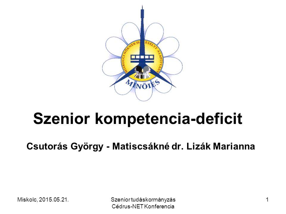 Miskolc, 2015.05.21.Szenior tudáskormányzás Cédrus-NET Konferencia 1 Szenior kompetencia-deficit Csutorás György - Matiscsákné dr. Lizák Marianna
