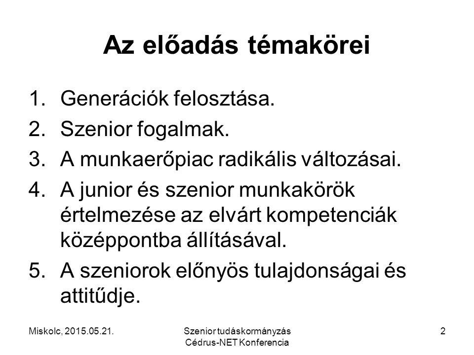 Miskolc, 2015.05.21.Szenior tudáskormányzás Cédrus-NET Konferencia 2 Az előadás témakörei 1.Generációk felosztása. 2.Szenior fogalmak. 3.A munkaerőpia