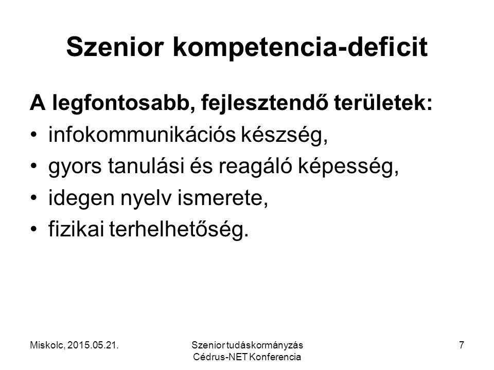 Szenior kompetencia-deficit A legfontosabb, fejlesztendő területek: infokommunikációs készség, gyors tanulási és reagáló képesség, idegen nyelv ismere