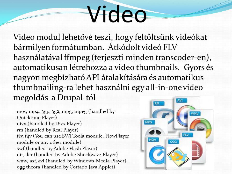 Video Video modul lehetővé teszi, hogy feltöltsünk videókat bármilyen formátumban.