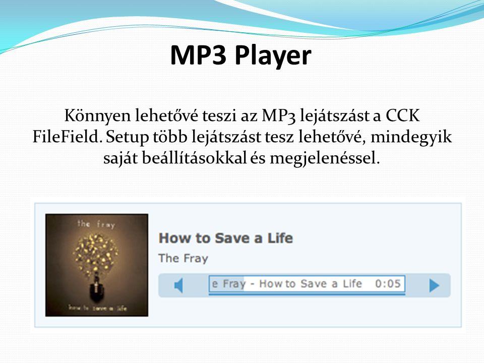 MP3 Player Könnyen lehetővé teszi az MP3 lejátszást a CCK FileField.