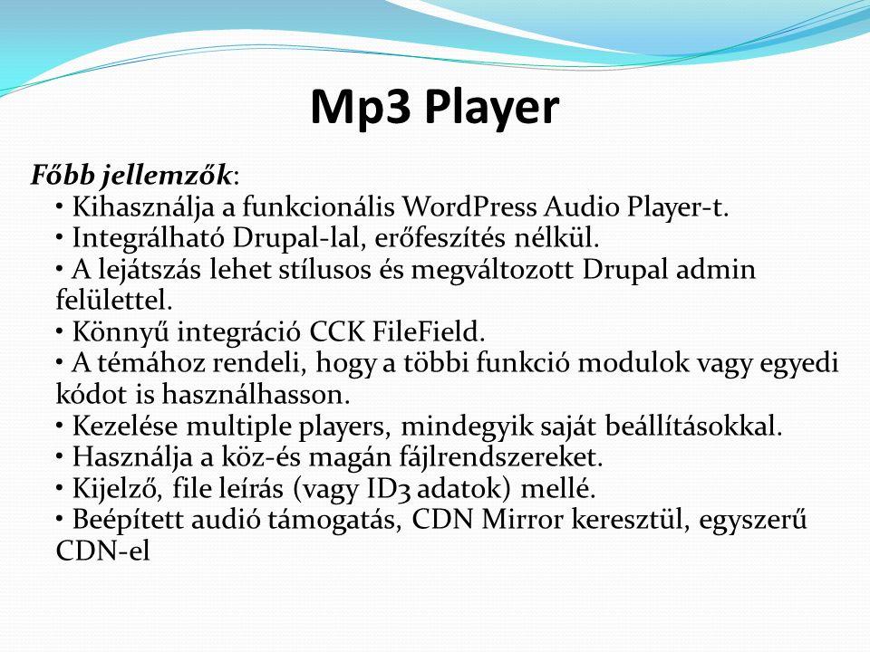 Mp3 Player Főbb jellemzők: Kihasználja a funkcionális WordPress Audio Player-t.