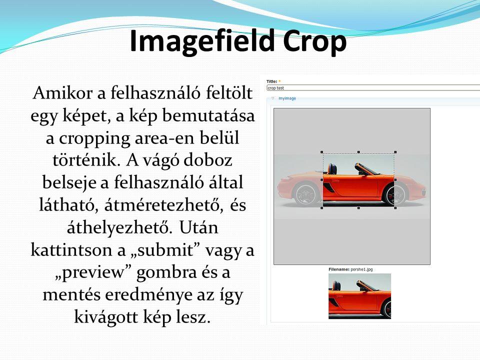 Imagefield Crop Amikor a felhasználó feltölt egy képet, a kép bemutatása a cropping area-en belül történik.