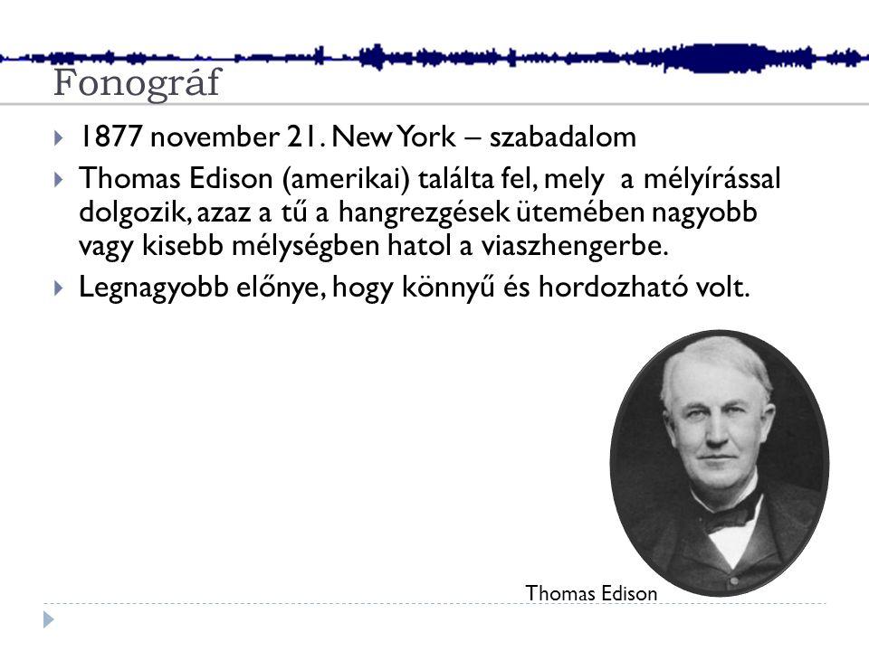 Fonográf  1877 november 21.