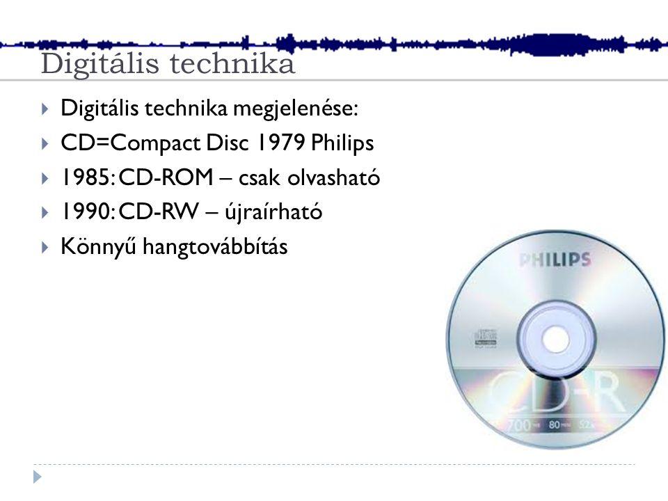 Digitális technika  Digitális technika megjelenése:  CD=Compact Disc 1979 Philips  1985: CD-ROM – csak olvasható  1990: CD-RW – újraírható  Könnyű hangtovábbítás